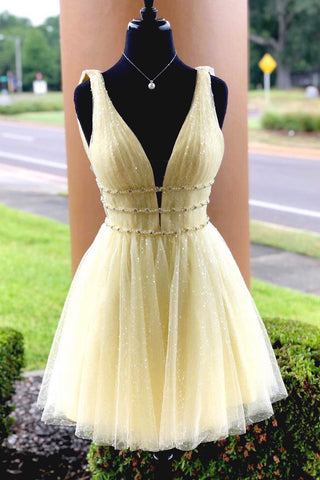 Yellow Sparkly Beading Short Prom Dresses Sequins Homecoming Dress M731