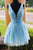 Sparkly Beading Sky Blue Short Prom Dresses Sequins Homecoming Dress M730
