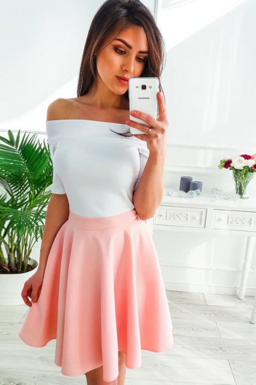 Off-Shoulder Half Sleeves Above-Knee Pink Homecoming Party Dress M738