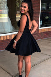 A-Line V-Neck Backless Black Satin Homecoming Dress with Pockets M741