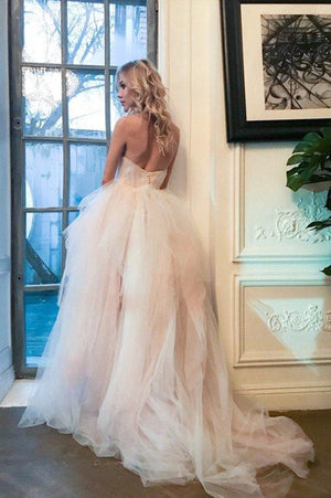 Gorgeous Sweetheart Backless A Line Strapless Tulle Sweep Train Wedding Dress W412
