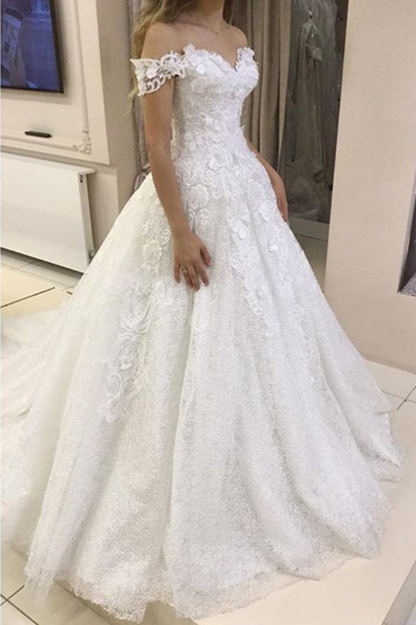 Gorgeous Off the Shoulder Sweetheart Ball Gown Wedding Dresses W515