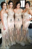 Sexy Lace Appliques Sweetheart Mermaid Long Bridesmaid Dress B449