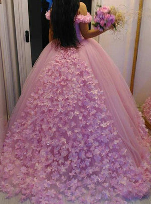 3af50726159 Pink Off-the-Shoulder Ball Gown Quinceanera Dress with Flowers Applique Q101