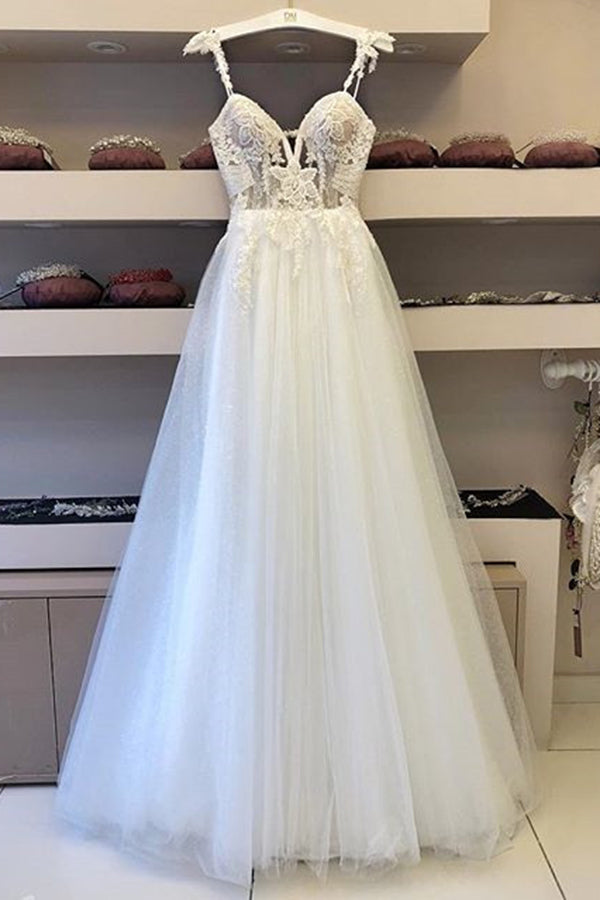 Flossy Spaghetti Straps Floor Length Sweetheart Lace Wedding Dresses W509
