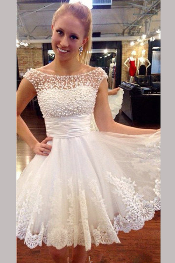 White Sheer Lace Appliques Homecoming Dresses,Pearls Beading Short Prom Dress HCD136 - Ombreprom