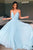Simple A-Line V-Neck Light Blue Chiffon Spaghetti Long Prom Dress D425