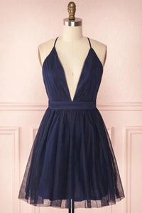 Spaghetti V-neck Navy Blue Short Prom Dress Tulle Homecoming Dresses M797