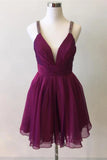A-line Beaded Straps V Neck Short Grape Chiffon Prom Party Dress M796