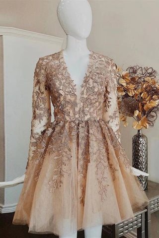 A-line V-neck Tulle Long Sleeves Short Prom Dress With Appliques M791