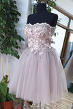 Chic Sweetheart Tulle Beaded Short Prom Dress Strapless Homecoming Dress M788