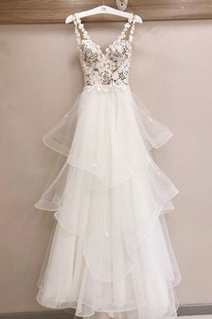 Charming Tulle Appliques V Neck Lace Wedding Dresses with Ruffles W507
