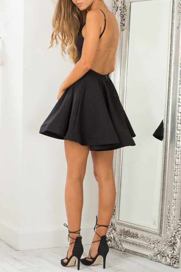 Black Halter Sleeveless Homecoming Dress,Backless Short Prom Dress H193 - Ombreprom