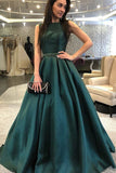 Vintage Satin Sleeveless Floor Length A Line Long Prom Dress P899