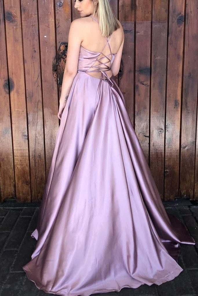 Simple Sleeveless Satin V Neck Prom Dress with Split D362