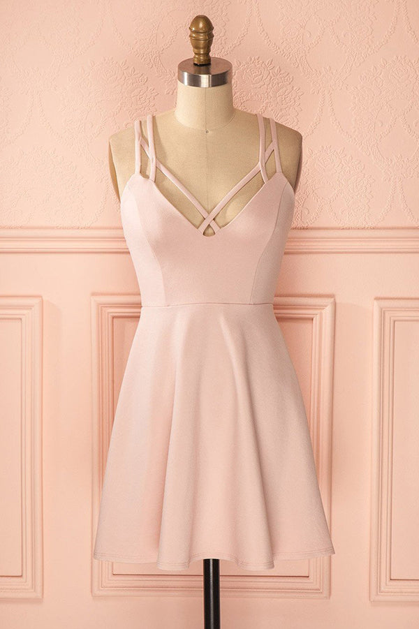 Sexy A-Line Pink Sleeveless Satin Short Homecoming Dress M449