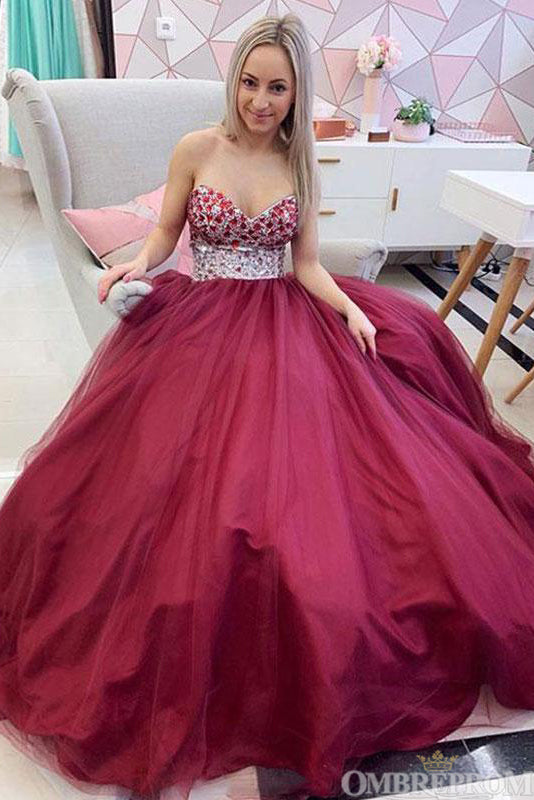 Sweetheart Burgundy Sleeveless A Line Prom Dress with Beading D312