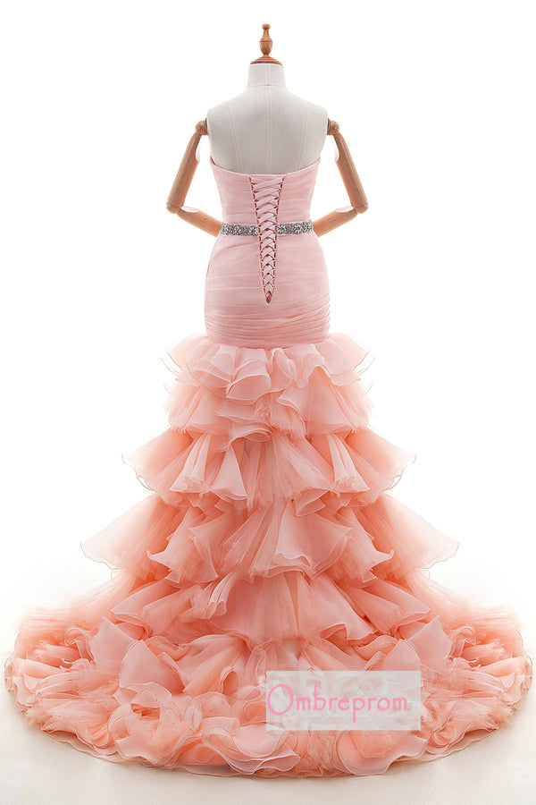 Pink Mermaid Court Train Sweetheart Sleeveless Ruffles Lace Up Wedding Gowns,Wedding Dress W265 - Ombreprom