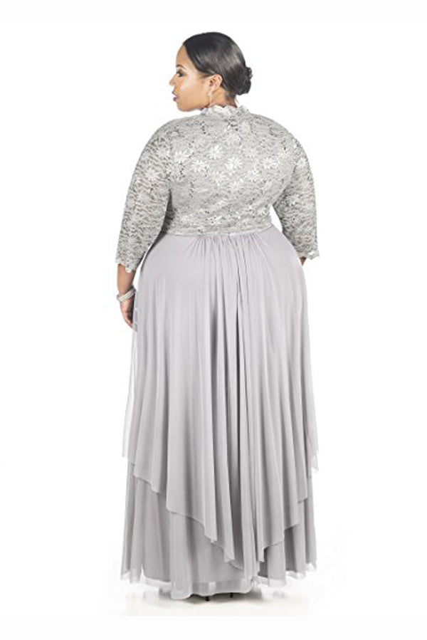 Gray A Line Floor Length Scoop Neck Zipper Back Pleats Mother of the Bride Dresses Plus Size M17