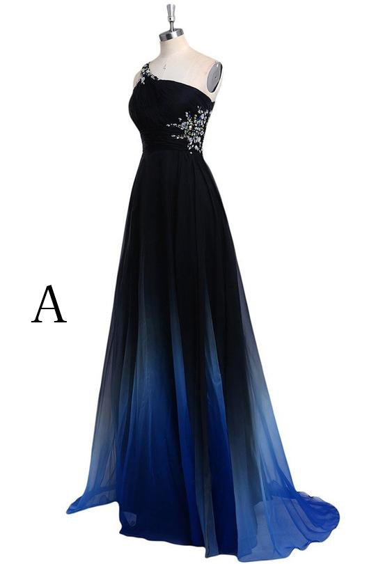 0ef8bd0fd71 Ombre A Line Sweep Train One Shoulder Sleeveless Open Back Beading Prom  Dress