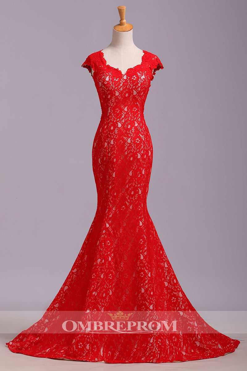 Elegant Red Mermaid Trumpet Cap Sleeves Withe Lace Appliques Prom Dress P767