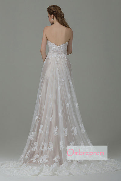 A Line Court Train Sweetheart Sleeveless Lace Appliques Wedding Gowns,Wedding Dress W254 - Ombreprom