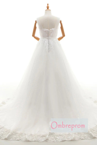 A Line Court Train Sweetheart Sleeveless Lace Appliques Wedding Gowns,Wedding Dress W250 - Ombreprom