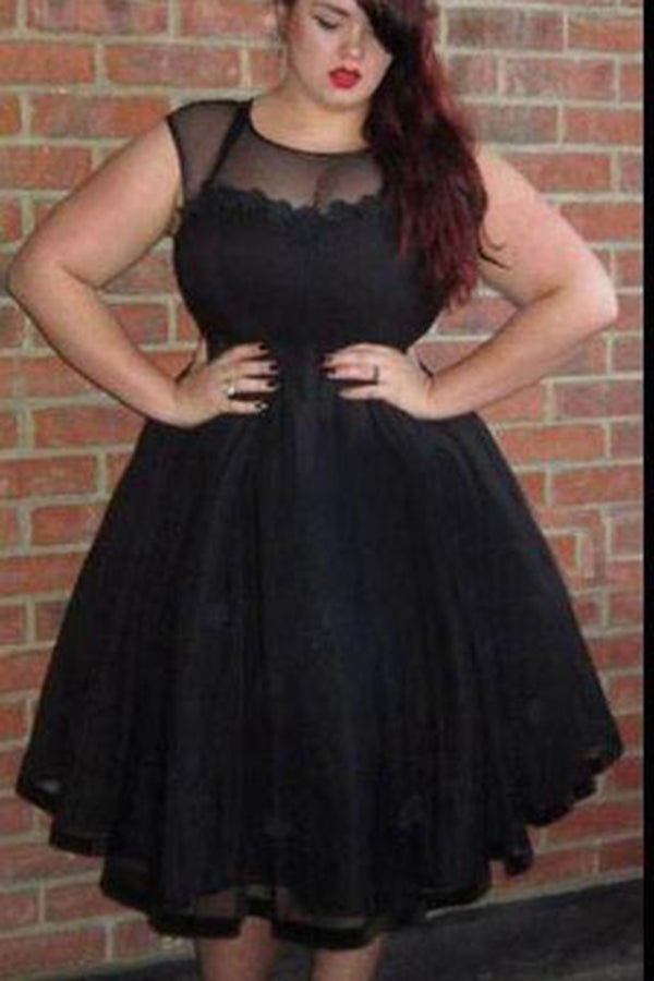 Charming Black Plus Size A Line Organza Homecoming Dress M542