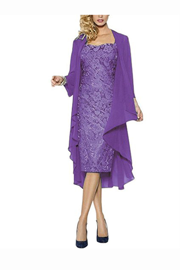 Purple Sheath Knee Length Cap Sleeves Lace Up Mother of the Bride Dresses M16 - Ombreprom