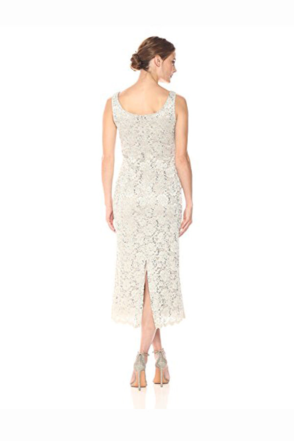 Ivory Sheath Tea Length Scoop Neck Sleeveless Lace Mother of the Bride Dresses M38