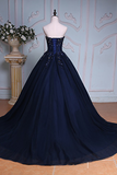 Navy Blue Ball Gown Court Train Sweetheart Strapless Lace Up Beading Prom Dress,Evening Dress P91 - Ombreprom