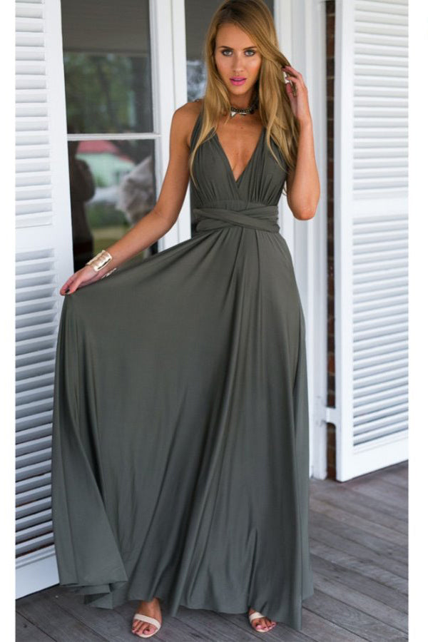 Soft A line Floor Length Sleeveless Open Back Prom Dress,Formal Dress P290