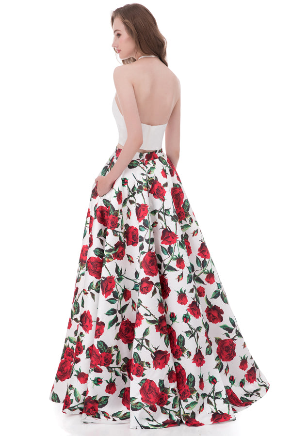 Two Piece A Line Halter Sleeveless Mid Back Floral Cheap Prom Dress,Formal Dress P268 - Ombreprom