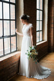 White A Line Brush Train Capped Sleeve Chiffon Wedding Dress,Beach Wedding Dress