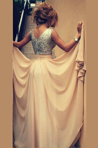 Blush A Line Floor Length V Neck Sleevless Sparkle Prom Dress,Party Dress P124 - Ombreprom