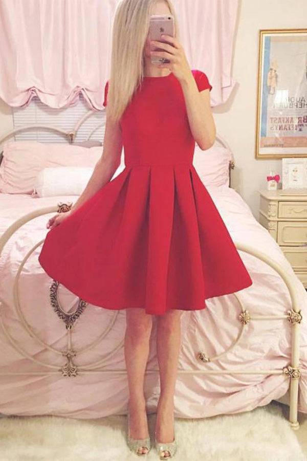 Classy A-line Short Sleeves Simple Red Homecoming Dress M444 - Ombreprom