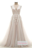 Pink A Line Chapel Train Deep V Neck Sleeveless Applique Wedding Dress,Cheap Wedding Dress W262 - Ombreprom