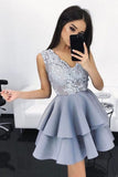 Sexy V-Neck A-Line With Appliques Lace Homecoming Dresses M461