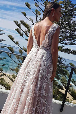 Gorgeous Deep V Neck Open Back With Lace Appliques Wedding Dresses W365