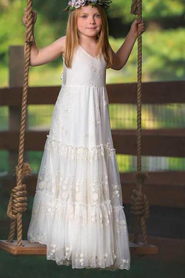 Simple V Neck Sleeveless With Lace Appliques Flower Girl Dresses F54
