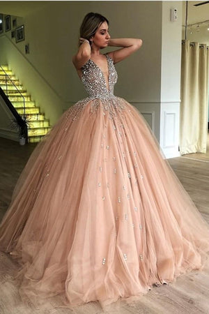 d33f2d2882d7d Gorgeous Deep V Neck Prom Dress Tulle Ball Gown with Beading P898