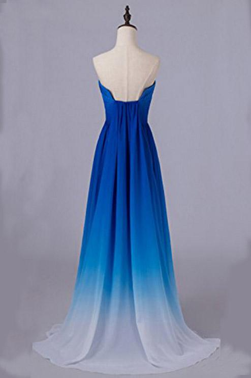 Ombre Blue Strapless Prom Dresses Long, Chiffon Gradient Formal Dresses D396