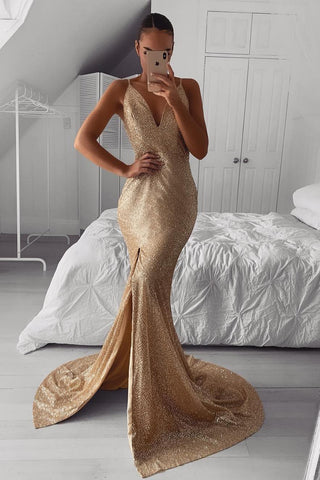 Spaghetti Staps V-neck Mermaid Long Sequined Prom Evening Dresses with Slit D391