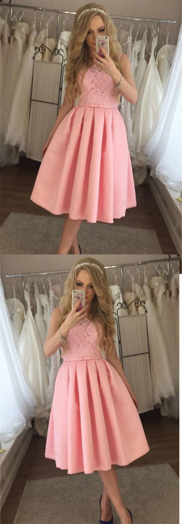 Charming Lace A-line Satin Knee Length Homecoming Dress M481 - Ombreprom