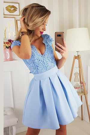 Charming V Neck Appliques With Bowknot Homecoming Dress M571 - Ombreprom
