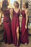 Burgundy A Line Floor Length Sleeveless Appliques Beading Cheap Bridesmaid Dresses B200 - Ombreprom