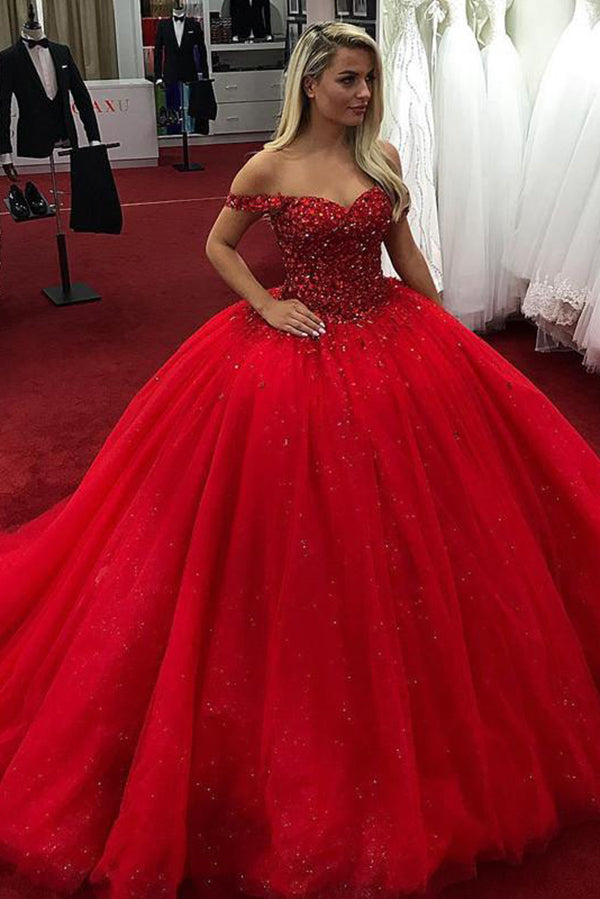Sparkly Red Ball Gown Sweetheart Off Shoulder Prom Dress with Sequins P890