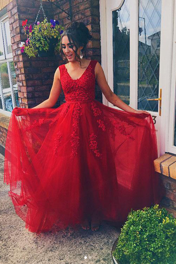Elegant Red V Neck Lace Tulle Appliques Long Prom Dress P697