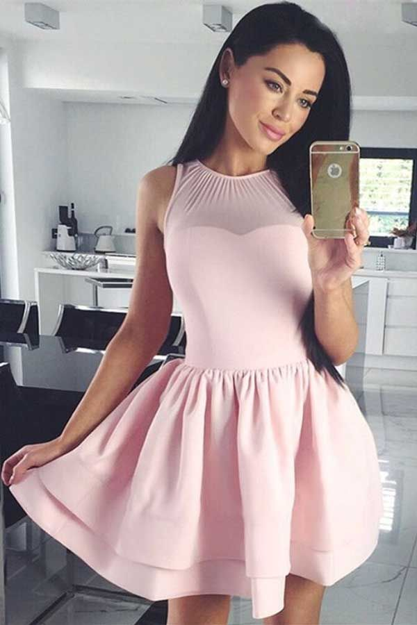 Chic A-Line Crew Sleeveless Short Pink Satin Homecoming Dress M468