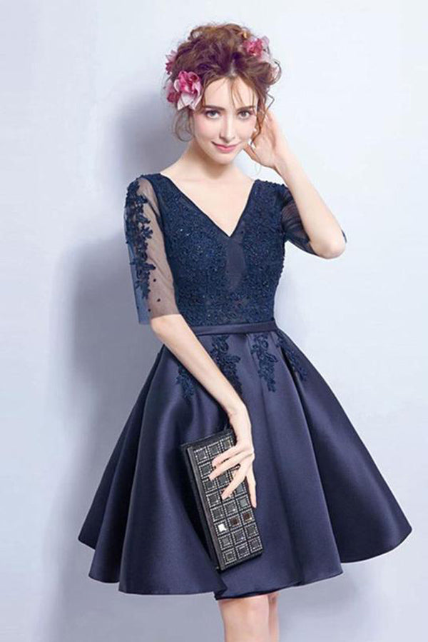 Luxury V Neck Half Sleeve With Appliques Knee Length Homecoming Dress M598
